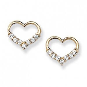 Heart Earrings - 9K Gold