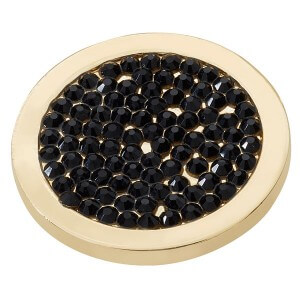 Black Diamond Disc - Yellow Gold plated