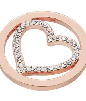 Heart Coin with Cubic Zirconia - Rose Gold plated