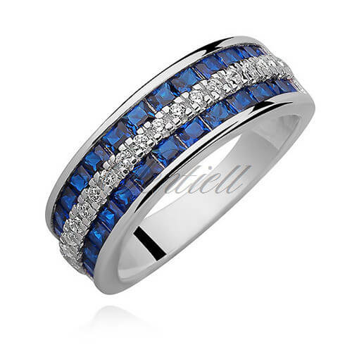 Silver Ring with White and Sapphire zirconia
