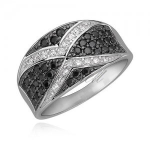 Silver X ring with Black and White CZ