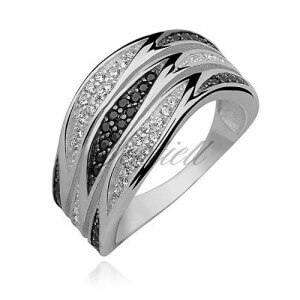 Silver Ring with White and Black Zirconia