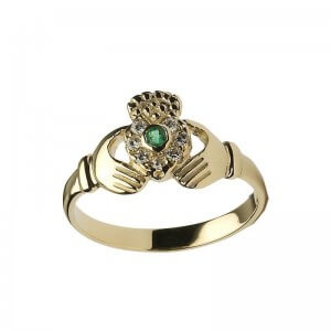 Diamond & Emerald Claddagh Ring - Yellow Gold