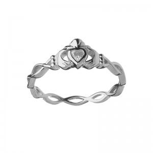 CZ Claddagh Ring with Twisted Band