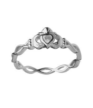 CZ Claddagh Ring with Twisted Band - White Gold