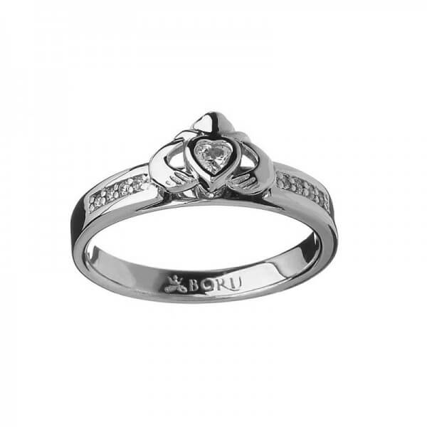 Claddagh CZ Ring - Sterling Silver
