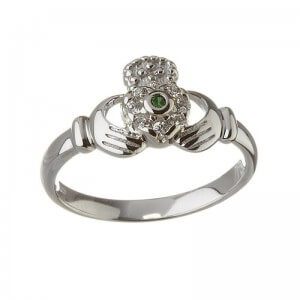 Diamond & Emerald Claddagh Ring - Silver