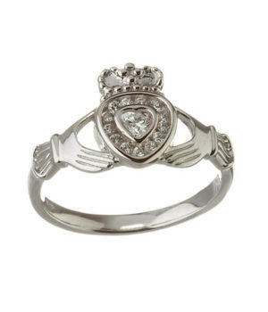 Diamond Heart Claddagh Ring - Sterling Silver