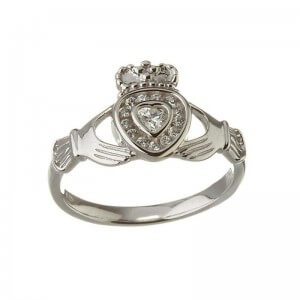 Diamond Heart Claddagh Ring - White Gold