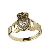 Diamond Heart Claddagh Ring - Yellow Gold