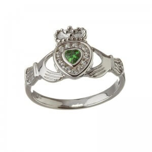 Emerald Heart Claddagh with Diamonds - White Gold