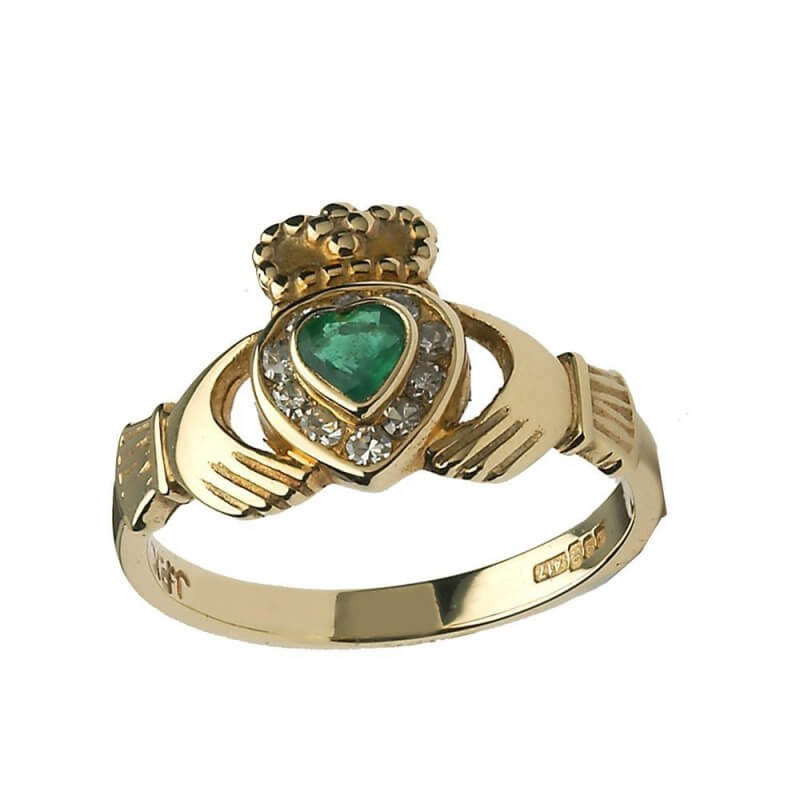 Emerald Heart Claddagh with Diamonds - Yellow Gold