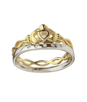 Gold Claddagh Twisted Ring With Silver Matching Band