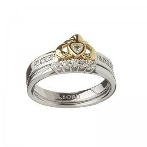 Gold Heart on Silver Claddagh Ring With Matching Silver Band - 1