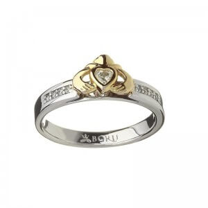 Gold Heart on Silver Claddagh Ring With Matching Silver Band - 2