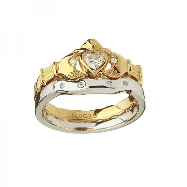 Heavy Gold Claddagh Ring & Silver Matching Band
